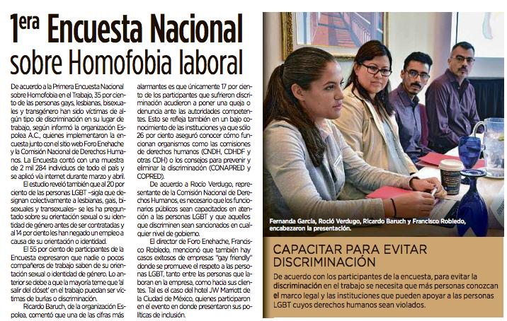 Discriminacion homosexual en el trabajo en mexico